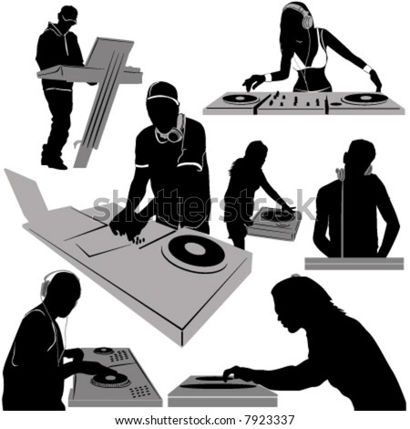 dj and turntable vector - stock vector