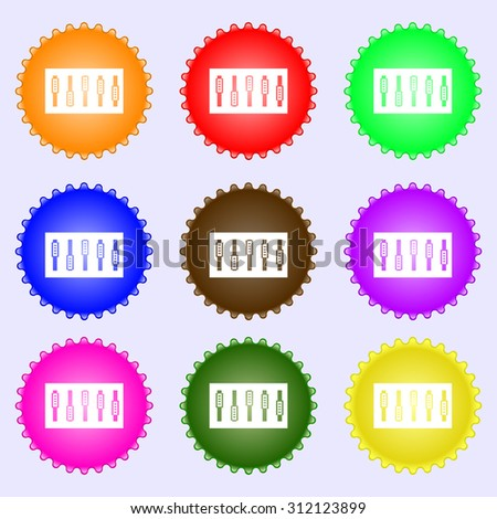 Dj console mix handles and buttons icon symbol. A set of nine different colored labels. Vector illustration - stock vector