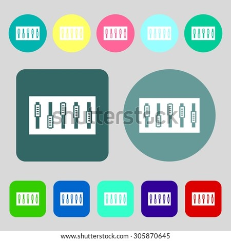 Dj console mix handles and buttons icon symbol.12 colored buttons. Flat design. Vector illustration - stock vector