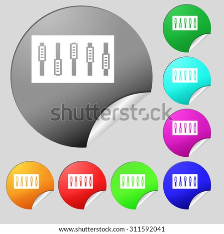 Dj console mix handles and buttons icon symbol. Set of eight multi colored round buttons, stickers. Vector illustration - stock vector