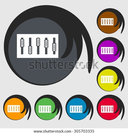 Dj console mix handles and buttons icon symbol. Symbols on eight colored buttons. Vector illustration - stock vector