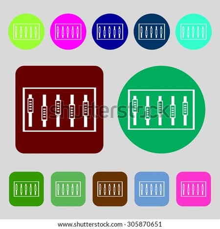 Dj console mix handles and buttons, level icons.12 colored buttons. Flat design. Vector illustration - stock vector