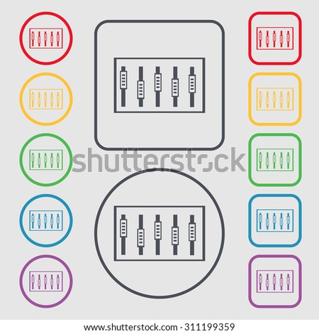 Dj console mix handles and buttons, level icons. Symbols on the Round and square buttons with frame. Vector illustration - stock vector