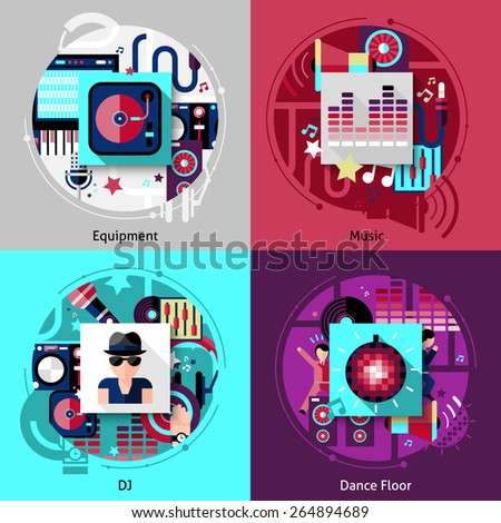 Dj design concept set with music equipment and dance floor flat icons isolated vector illustration - stock vector