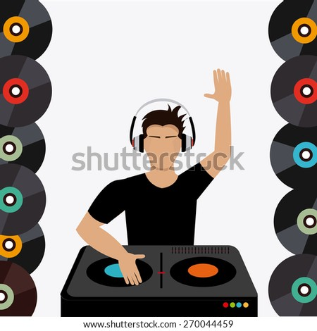 DJ design over colorful background, vector illustration.