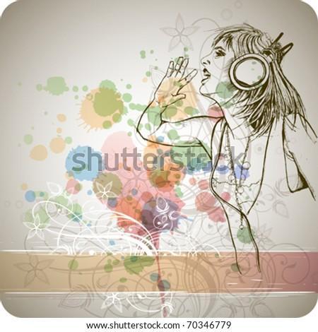 DJ girl & music colors mix - floral calligraphy ornament - a stylized orchid, color paint background - stock vector
