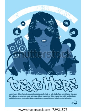 DJ girl poster - stock vector