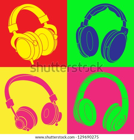 DJ Headphones Design - stock vector