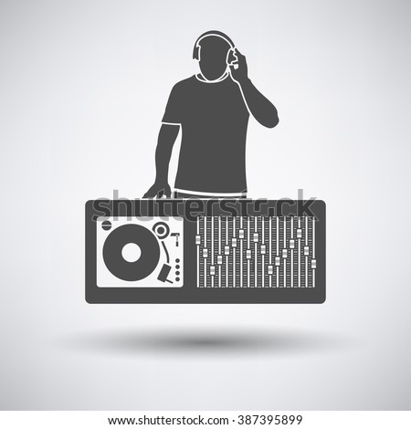 DJ icon on gray background with round shadow. Vector illustration.