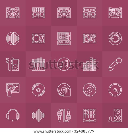 DJ icons set - vector DJ controllers symbols and other music equipment signs or logo elements - stock vector
