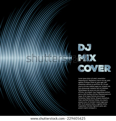 DJ mix cover with music waveform as a vinyl grooves - stock vector