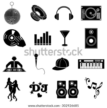 DJ music icons set - stock vector