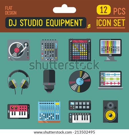 Dj music studio equipment flat long shadow icon set. Vector trendy illustrations.  - stock vector