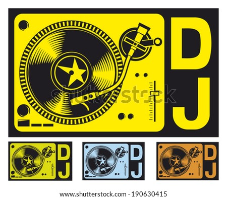 DJ music turntable (DJ gramophone, Dj mixer, turntable dj player) - stock vector