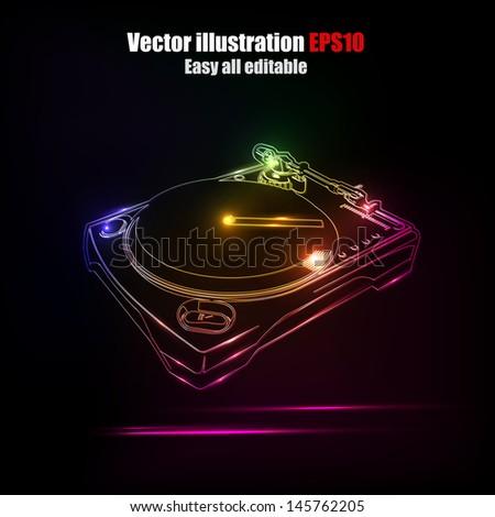 Dj neon disco house  - stock vector