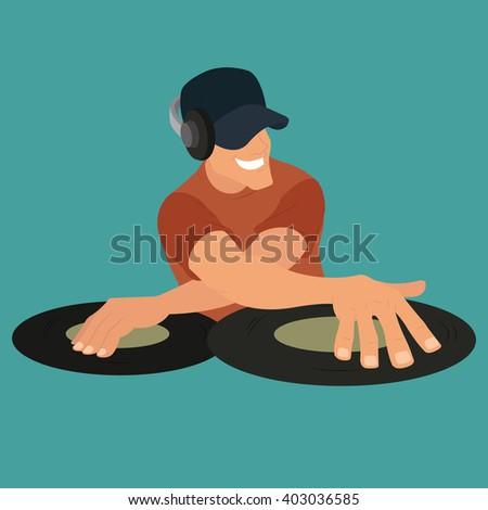 dj party. DJ and his equipment, dance music. dj vector. nice dj. dj party. - stock vector