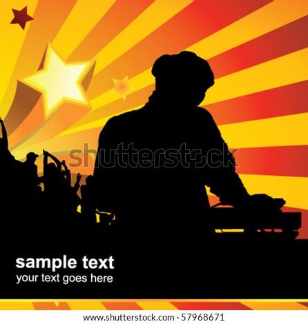 dj poster - stock vector
