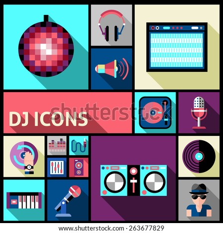 Dj studio and party music flat long shadow icon set isolated vector illustration - stock vector