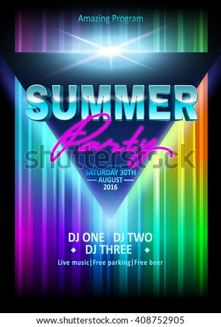 DJ summer party, night club show poster. Poster template. Summer Beach Party Flyer.  - stock vector