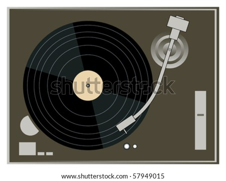 DJ Turntable on white background vector graphics - stock vector