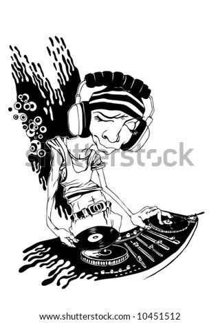 DJ, vector illustration. - stock vector