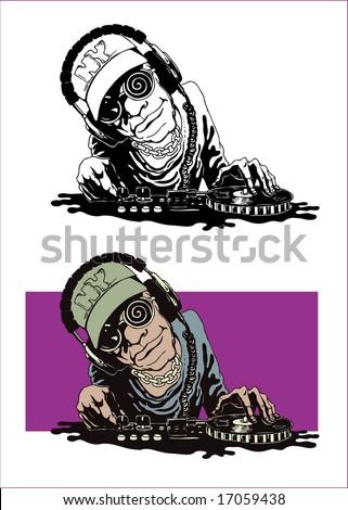DJ, vector illustration - stock vector