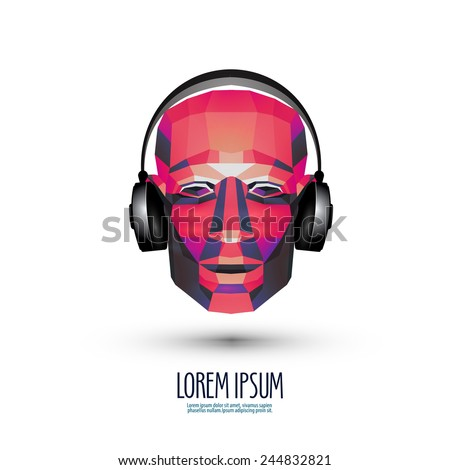DJ vector logo design template. music or headphones icon. - stock vector