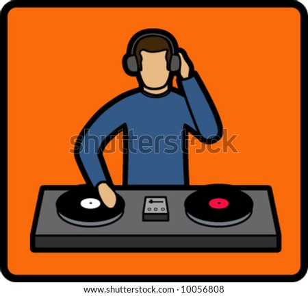 DJ with Turntables - stock vector