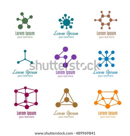 Dna Molecule Vector Logos Tech Medicine Stock Vector 489969841