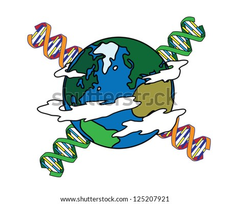 DNA and planet earth vector - stock vector