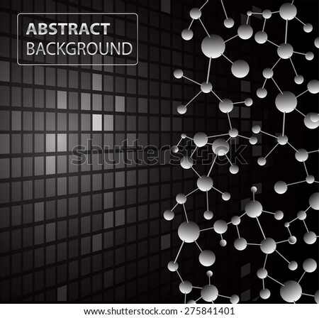 DNA background. molecular structure of planar elements. vector. black Light Abstract Technology background for computer graphic website internet business. text box.Tables,mosaic.pixel.card - stock vector
