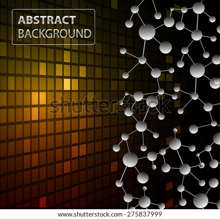 DNA background. molecular structure of planar elements. vector. orange Light Abstract Technology background for computer graphic website internet business. text box.Tables,mosaic.pixel.card - stock vector
