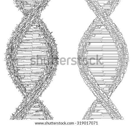 DNA Chain Made With Cubes And Boxes Vector 26 - stock vector