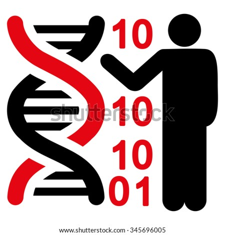 DNA Code Report vector icon. Style is bicolor flat symbol, intensive red and black colors, rounded angles, white background. - stock vector