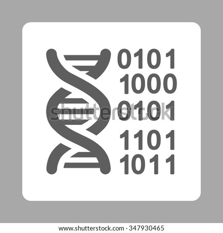 DNA Code vector icon. Style is flat rounded square button, dark gray and white colors, silver background.