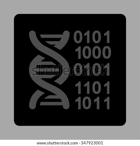 DNA Code vector icon. Style is flat rounded square button, gray and black colors, silver background.