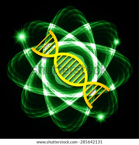 DNA. Dark green Shining atom scheme. Vector illustration. dark background. digital. infographics. Abstract Technology background for computer graphic website internet and business. circuit. - stock vector