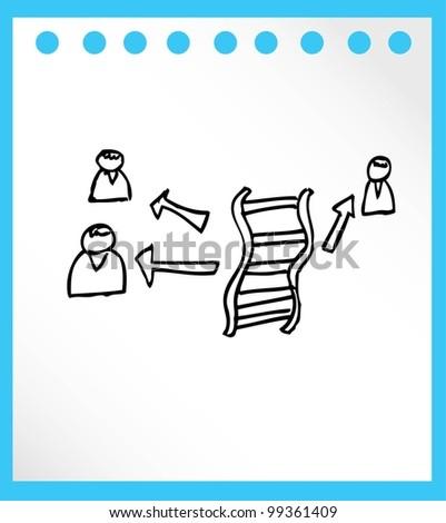 DNA for medical hand drawn - vector illustration - stock vector