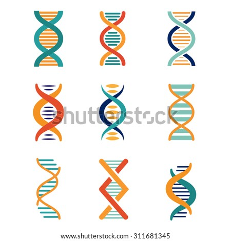 DNA, genetics vector icons set flat style - stock vector