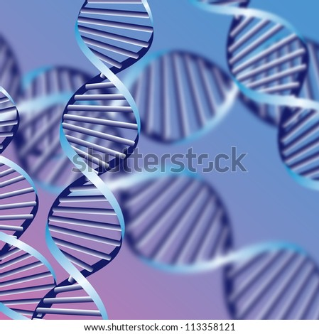 DNA helix, biochemical abstract background with defocused strands, eps10 - stock vector