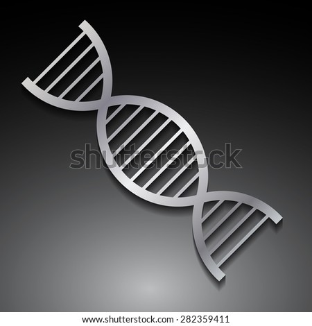 DNA, human genome code symbol isolated on black background. silver gray DNA Helix Molecular Background. gen. DNA symbol. Vector illustration.