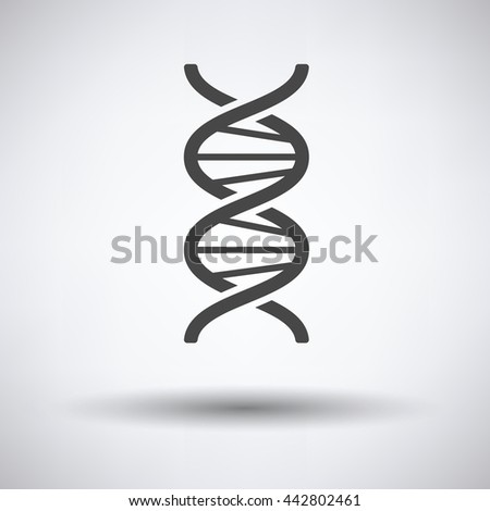 DNA icon on gray background, round shadow. Vector illustration. - stock vector