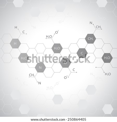 Dna molecule on gray background. Graphic background for your design and your text.Vector Illustration. - stock vector