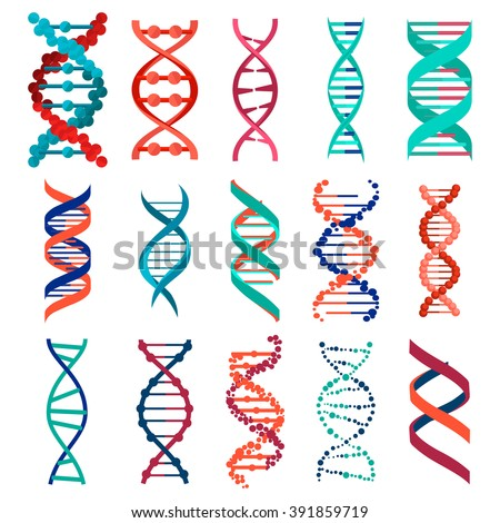 DNA molecule sign set, genetic elements and icons collection strand. Vector illustration background eps10 - stock vector