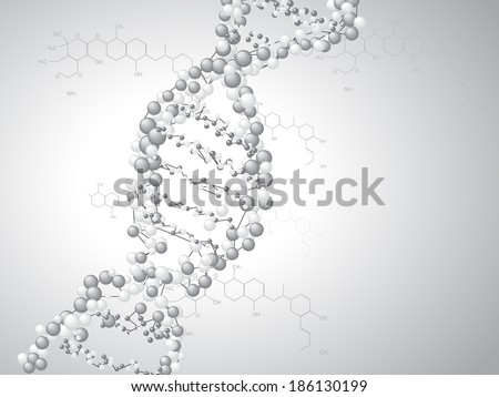 DNA spiral - molecules background - stock vector