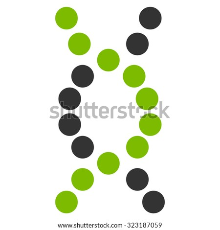 Dna Spiral vector icon. Style is bicolor flat symbol, eco green and gray colors, rounded angles, white background.