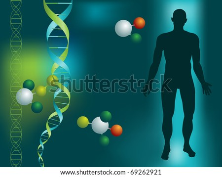 DNA string and silhouette of a man on a green background with molecules - stock vector