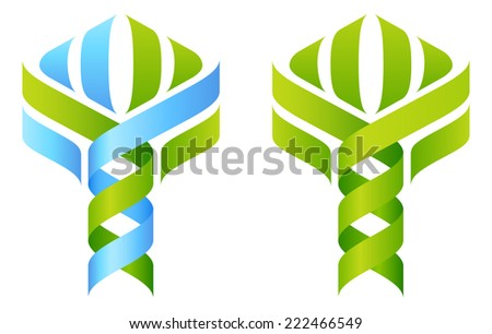 DNA Tree concept of DNA double helix growing into a stylized plant shape. Great for medical, science, research or other nature related use.  - stock vector