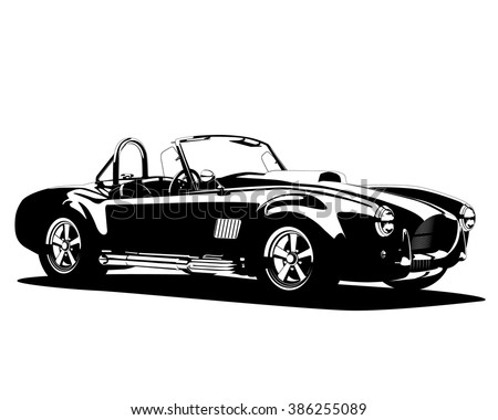 DNEPROPETROVSK, UKRAINE - MARCH 5, 2016: Vector illustration, eps 10, classic hot roadster car 1960s silhouette. Shelby Cobra Roadster 1967. Vector editorial illustration.