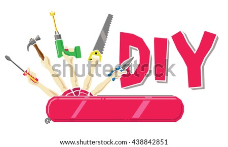 Do yourself concept swiss army knife stock vector 438842851 do it yourself concept swiss army knife with human arms holding a screwdriver hammer solutioingenieria Choice Image